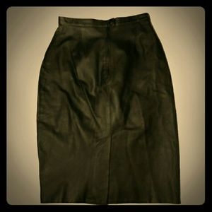 Vintage Bagatelle Black leather pencil skirt